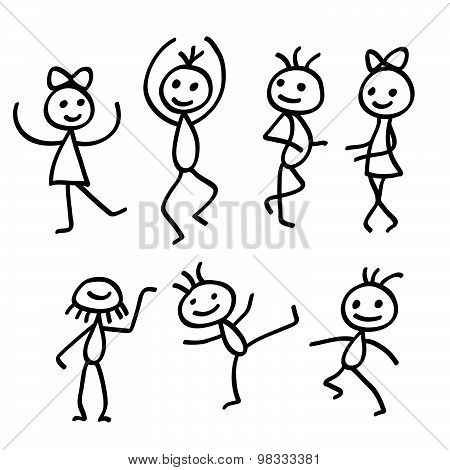 Cartoon Dancing People Isolated On White Background