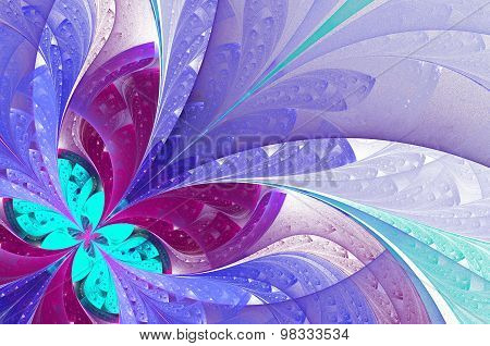 Beautiful Fractal Flower In Blue. Computer  Graphics.