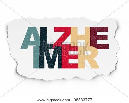 Healthcare concept: Alzheimer on Torn Paper background