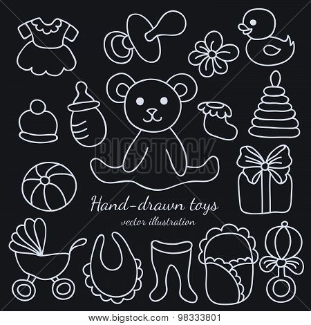 Hand-drawn Baby Goods And Toys Set