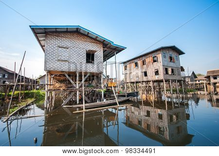 Floating Houses In A Village Of Inle Lake