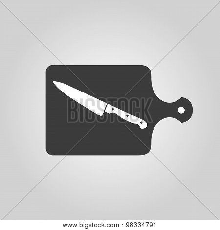 The cutting board and knife icon. Chef and restaurant, kitchen symbol. Flat