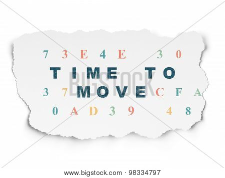 Time concept: Time to Move on Torn Paper background