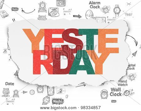 Time concept: Yesterday on Torn Paper background