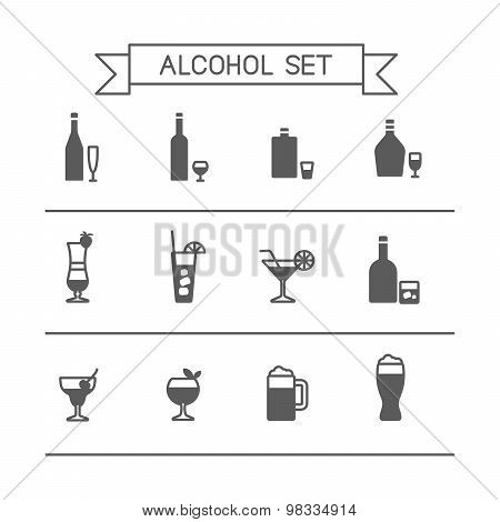 Monochrome Flat alcohol icons