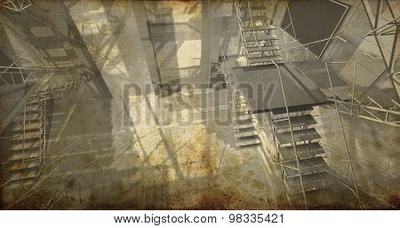 Station. Modern industrial interior, stairs, clean space in industry building, background textured