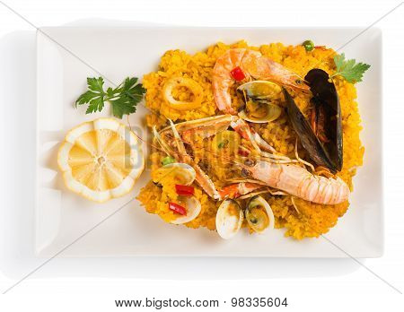 Paella On The Plate, Above View