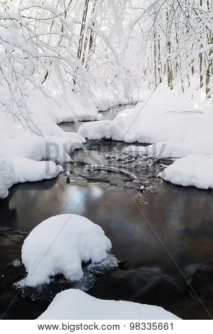 Stream With Snow