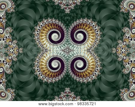 Beautiful Background With Spiral Pattern. Green And Gray Palette. Artwork For Creative Design