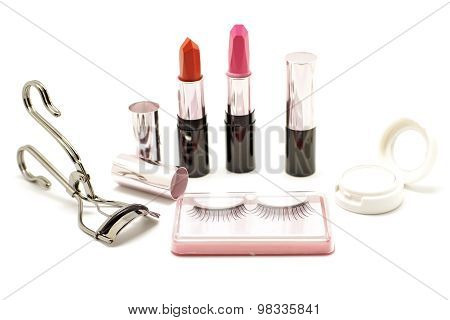 Makeup Set With Lipstick False Lashes Eyelash Curler And  Eyeshadow Isolated On White