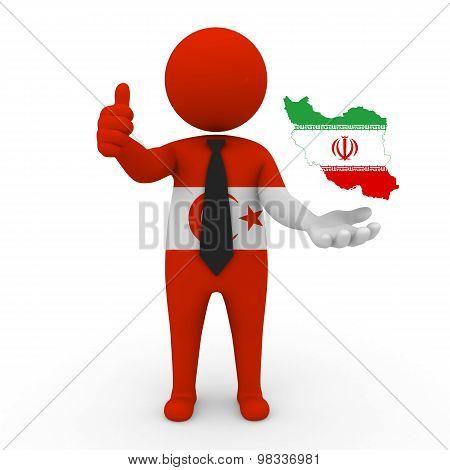 3d people Khorasani Turks - map flag of Iran. Khorasani Turks  in Iran.