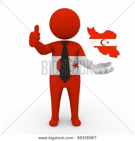 3d small people Khorasani Turks - Map flag of Iran-Khorasani Turks.Khorasani Turks in Iran