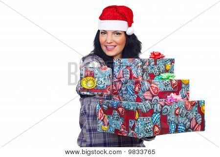 Smiling Woman Give You Christmas Gift
