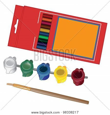School paint kit for artist with paints and crayons creativity