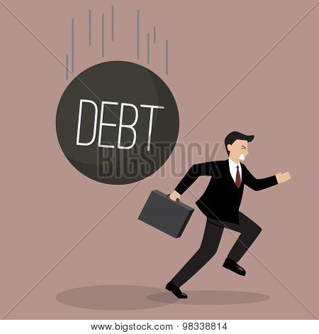 Businessman Run Away From Heavy Debt