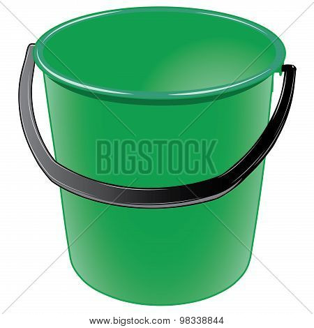 Green plastic bucket with a black handle