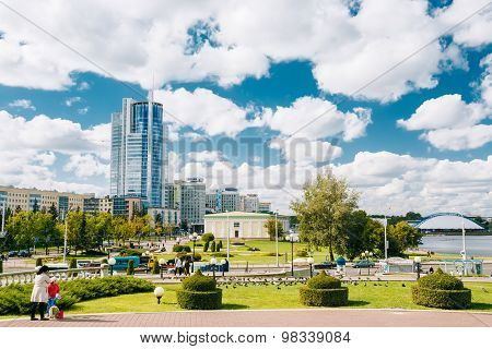Cityscape View Of Modern Skyscraper Architecture Of Minsk, From
