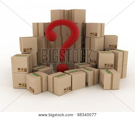 Box with question mark. 3d illustration isolated on white background.
