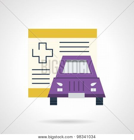 Driver insurance flat vector icon