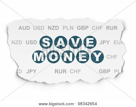 Currency concept: Save Money on Torn Paper background