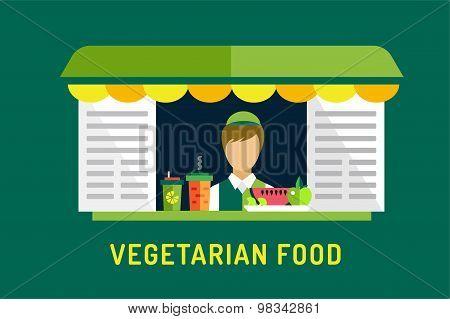 Vegetarian city food shop object icons. Nature product, vitamin symbol, auto restaurant, mobile kitc