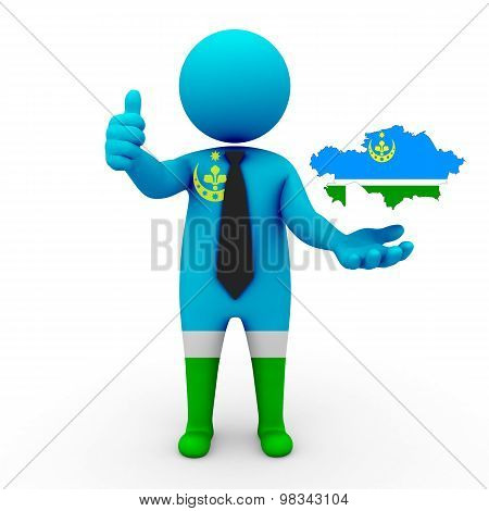 3d people Siberian Tatars - map flag of Kazakhstan-Siberian Tatars. Siberian Tatars in Kazakhstan