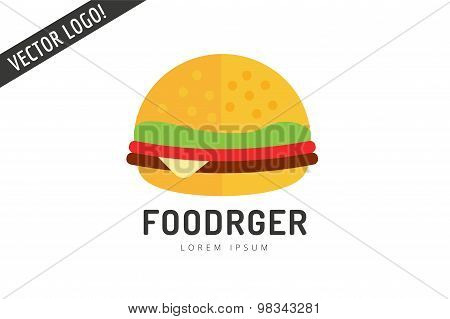 Fast food hamburger logo icon. City restaurant. Meat grilled product, hot dogs, hamburger, auto tran