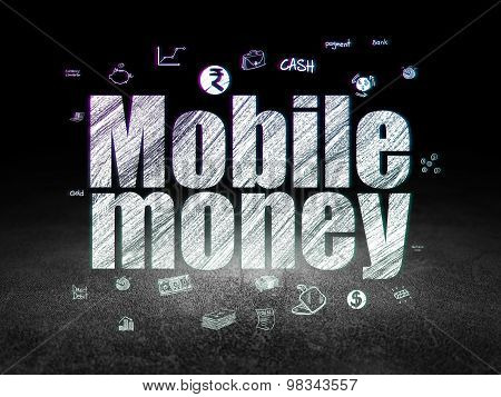Money concept: Mobile Money in grunge dark room