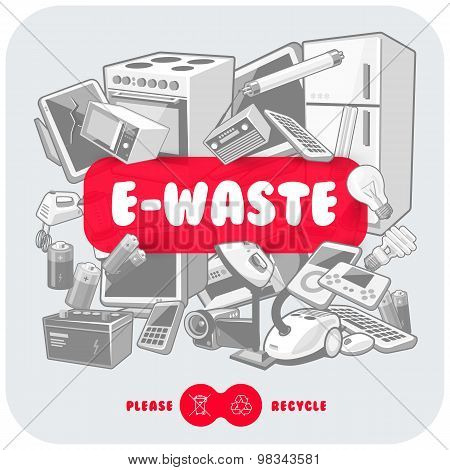 Grey E-waste With Red Sign Board