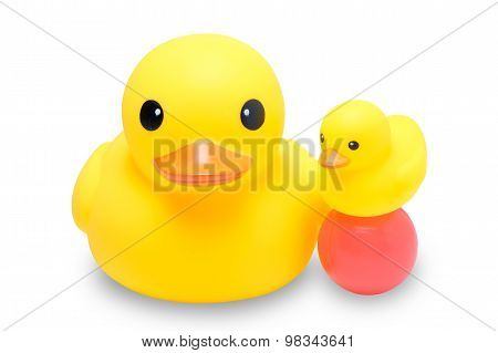 Yellow Rubber Duck With Colorful Ball