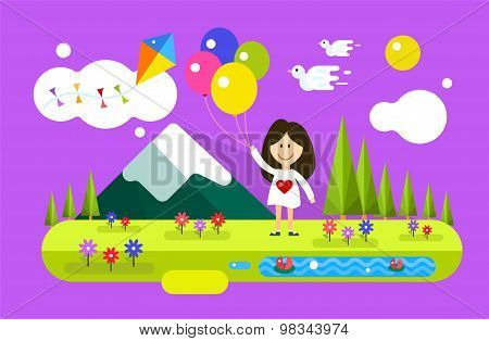Happy girl with ballons on summer background. Natural, peace, children, kids festival, spring or sum