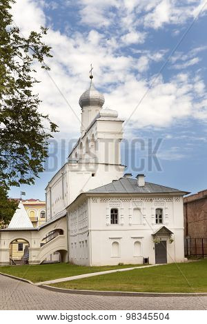 Great Novgorod. The Kremlin wall with towers. Russia