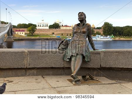 GREAT NOVGOROD - JULY 22: Sculpture