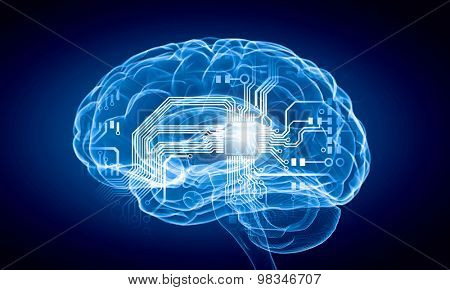 Science image with human brain on blue background