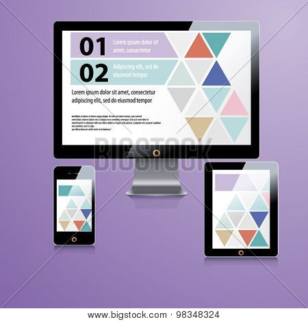 Color application template design for corporate identity with triangle shapes. Stationery set