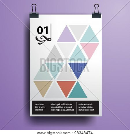 Color application poster or magazine cover template design for corporate identity with triangle shapes. Stationery set