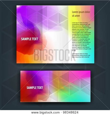 Color brochure template design with watercolor splash. Cover layout
