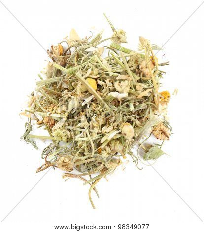 Pile of chamomile tea isolated on white