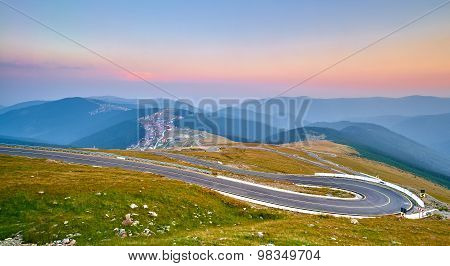 Sunset On Mountain Winding Road