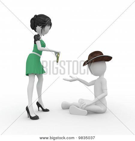 3D Man Beggar