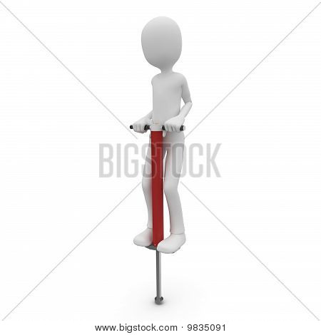3D Man With Pogo Stick
