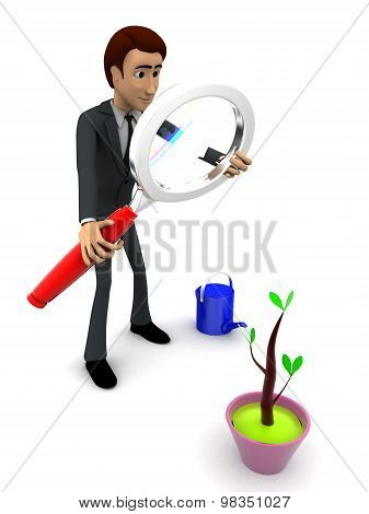 3D Man Observing Plant With Magnifying Glass Concept