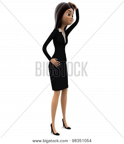 3D Woman Confused With Hand Kept Overhead Concept