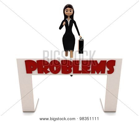 3D Woman Running Towards Hurdle With Problem Text Concept