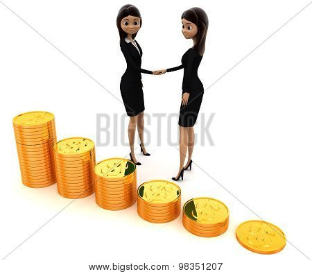 3D Women Shaking Hand Before Gold Coin Stakes Concept