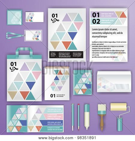 Geometry corporate identity template design with triangle shapes. Business stationery