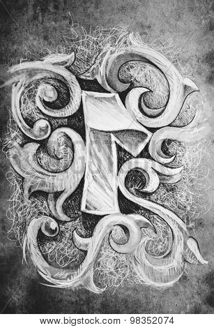 Sketch of tattoo art, one number, hand made