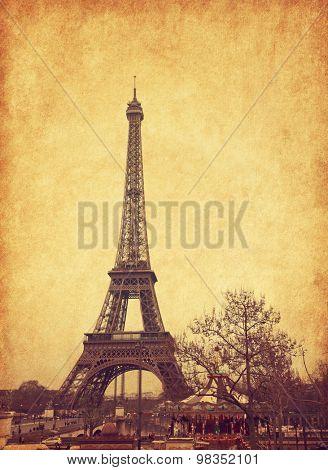 Eiffel tower, Paris, France. Added paper texture.