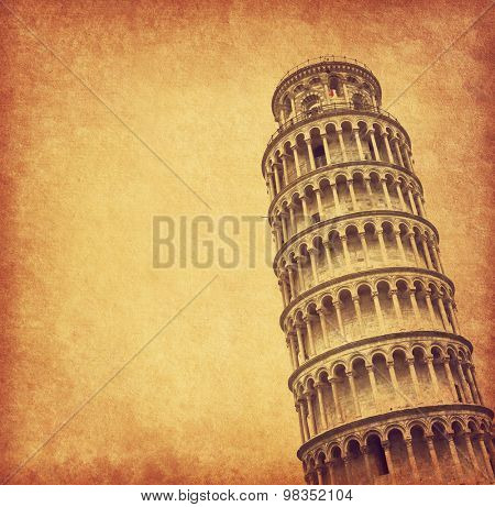 Old paper with leaning Tower of Pisa, Italy.
