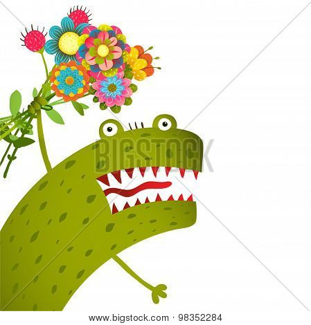 Horrible and Cute Funny Monster with Bunch of Flowers Congratulating